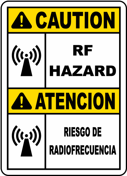 Bilingual Caution RF Hazard Label
