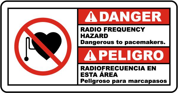 Bilingual Danger Radio Frequency Hazard Sign