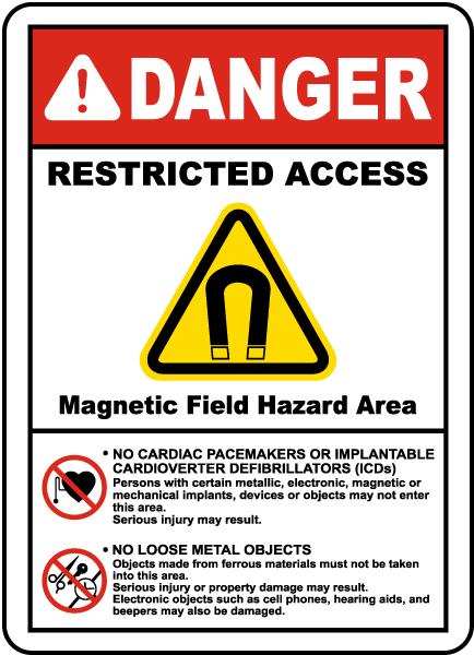 Magnetic Field Hazard Area Label