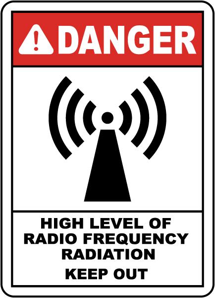 High Level of RF Radiation Sign