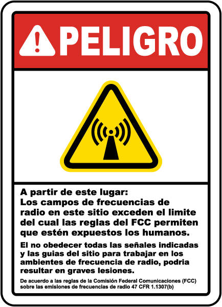 Spanish Danger Beyond This Point RF Fields Sign