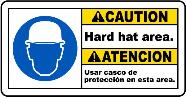 Bilingual Caution Hard Hat Area Sign