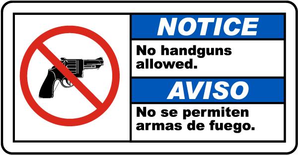 Bilingual Notice No Handguns Allowed Sign