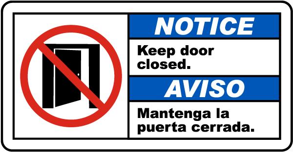 Bilingual Notice Keep Door Closed Sign