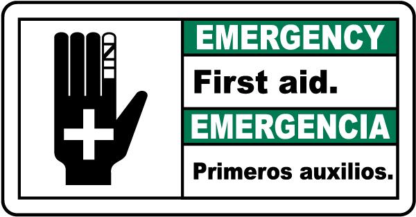 Bilingual Emergency First Aid Sign