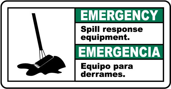 Bilingual Emergency Spill Response Equipment Sign