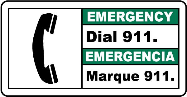 Bilingual Emergency Dial 911 Sign