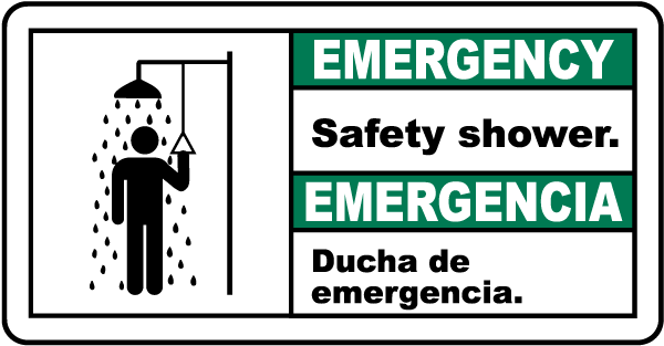 Bilingual Emergency Safety Shower Sign