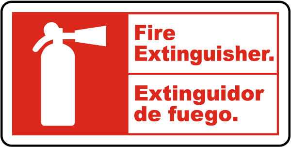 Bilingual Fire Extinguisher Sign