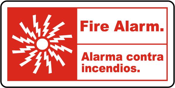 Bilingual Fire Alarm Sign