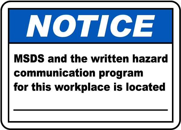 MSDS For Workplace Is Located Sign