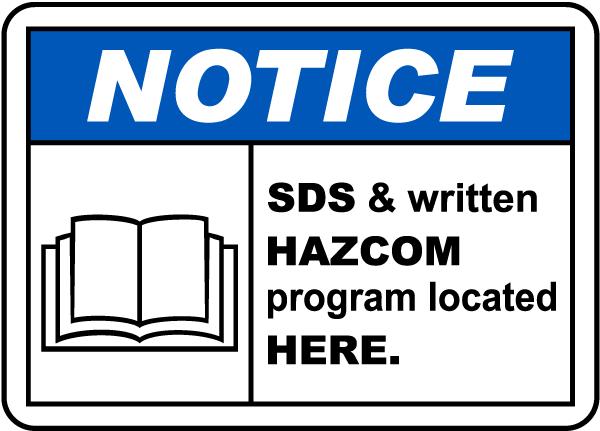 SDS & HazCom Located Here Sign