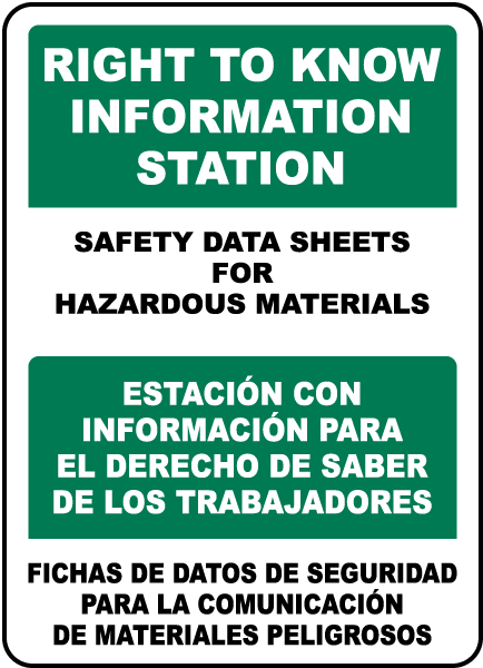 Bilingual Safety Data Sheets For Materials Sign