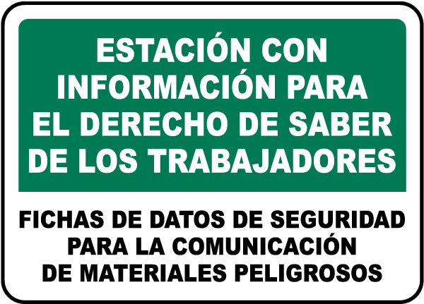 Spanish Safety Data Sheets For Materials Sign
