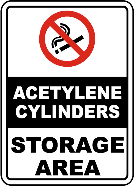 Acetylene Cylinders Storage Area Sign