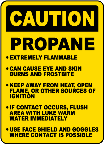 Caution Propane Cylinder Instructions sign