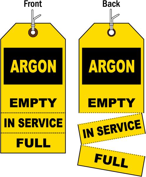 3-Part Argon Cylinder Status Tag