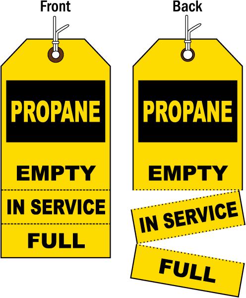 Propane. Empty / In Service / Full tag