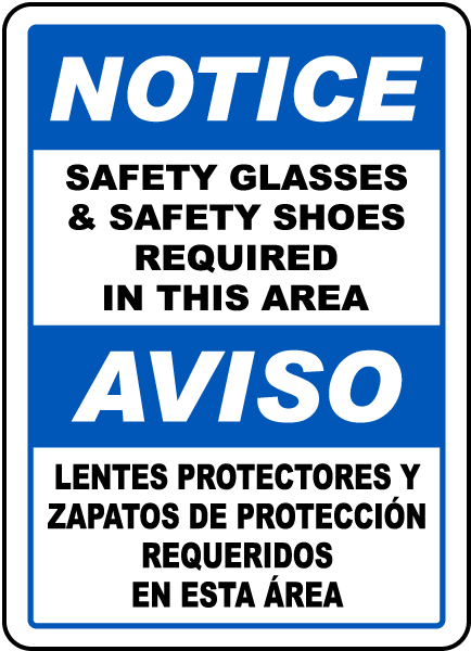 Bilingual Safety Glasses & Shoes Required Sign
