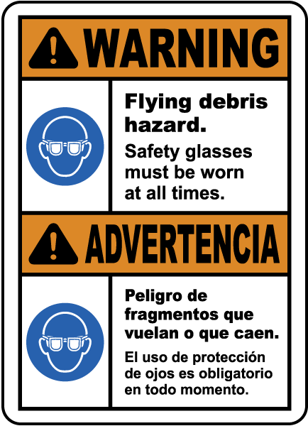 Bilingual Warning Flying Debris Hazard Safety Glasses Label