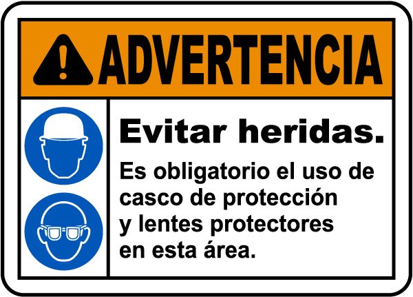Spanish Hard Hat and Safety Glasses Required Sign