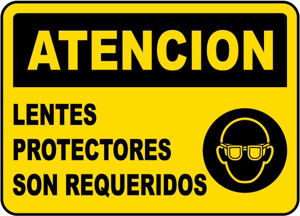 Spanish Caution Eye Protection Required Label
