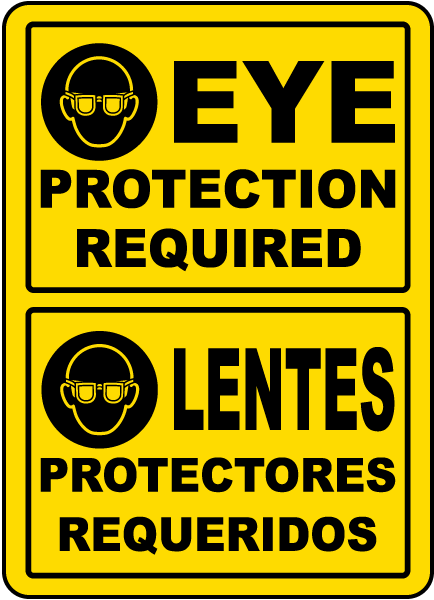 Bilingual Eye Protection Required Sign