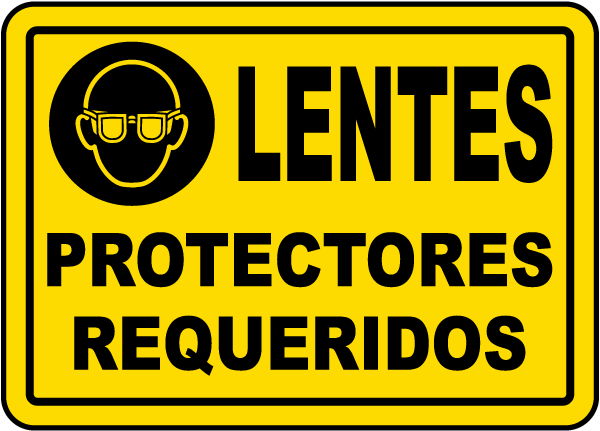 Spanish Eye Protection Required Label
