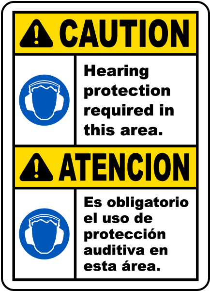 Bilingual Caution Hearing Protection Required Sign