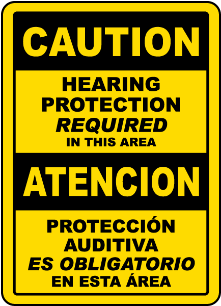 Bilingual Caution Hearing Protection In This Area Sign
