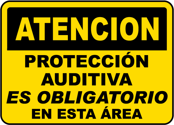 Spanish Caution Hearing Protection In This Area Sign