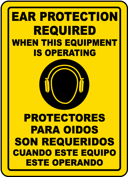 Bilingual Ear Protection Label