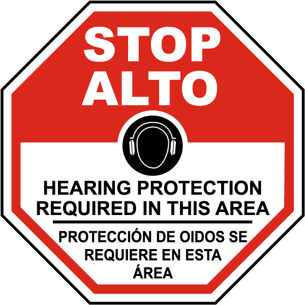 Bilingual Stop Hearing Protection Required Sign
