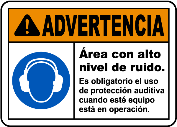 Spanish Warning Loud Noise Hazard Label