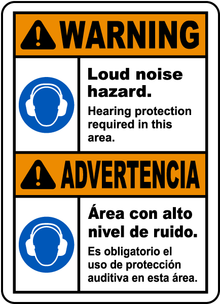 Bilingual Hearing Protection Required In This Area Sign