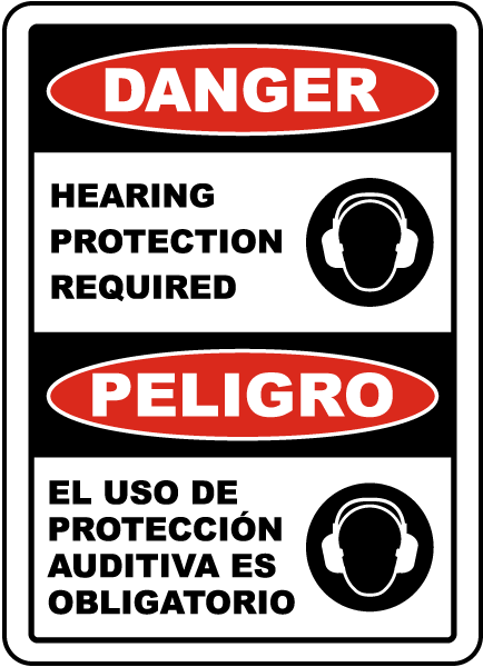 Bilingual Danger Hearing Protection Required Sign