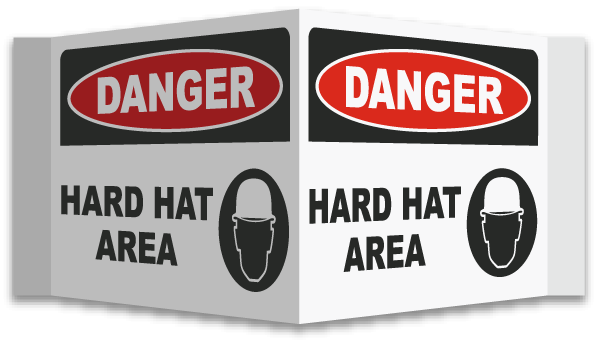 3-Way Danger Hard Hat Area Sign