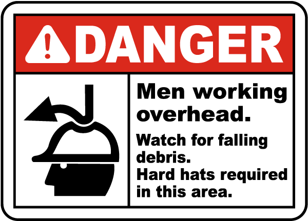 Watch For Falling Debris Hard Hat Sign