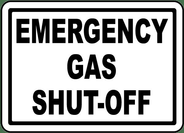 Emergency Gas Shut Off Label