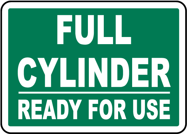 Full Cylinder Ready For Use Label