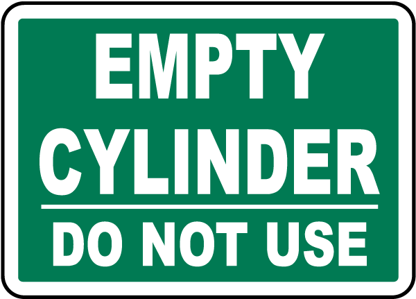 Empty Cylinder Ready For Use Label