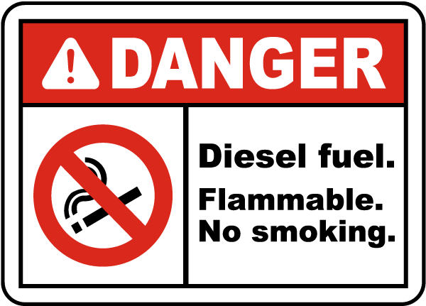 Danger Diesel Fuel Flammable Label