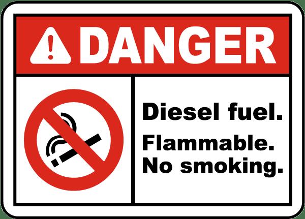 Danger Diesel Fuel Flammable Label