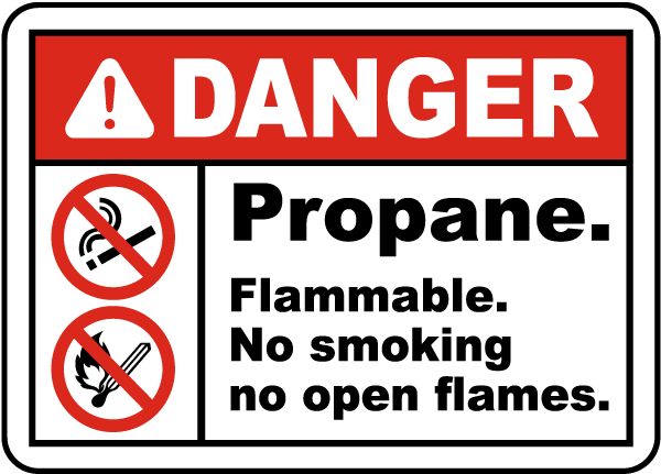 Propane Flammable No Smoking Label