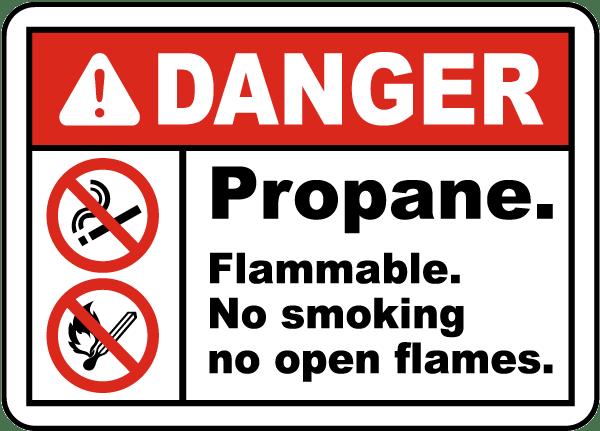 Propane Flammable No Smoking Label