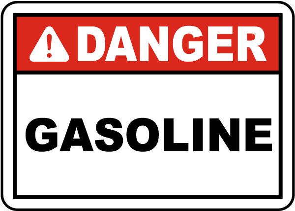 Danger Gasoline Label