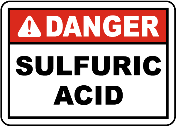 Danger Sulfuric Acid Label