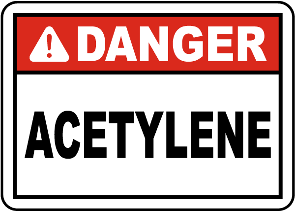 Danger Acetylene Label