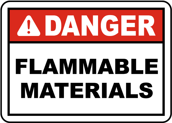 Danger Flammable Materials Label