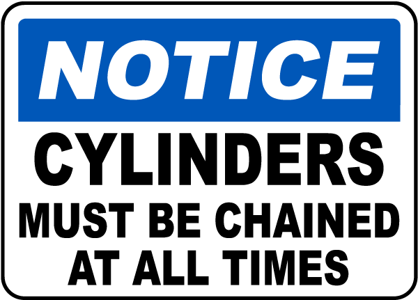 Cylinders Must Be Chained Label